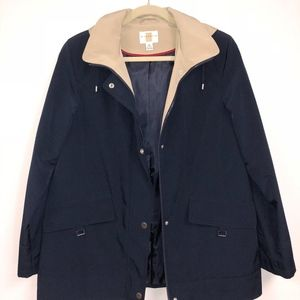 Hooded Two-toned Short Trench Coat